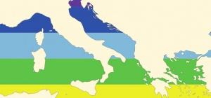 Italia, Europa con colori della bandiera della pace